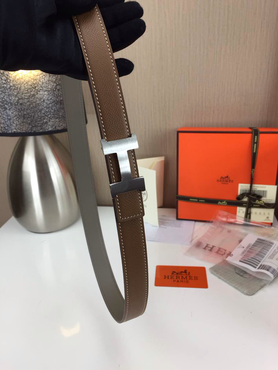 Hermes Women's Palm prints with coffee and Plain with grey 2.5CM wide