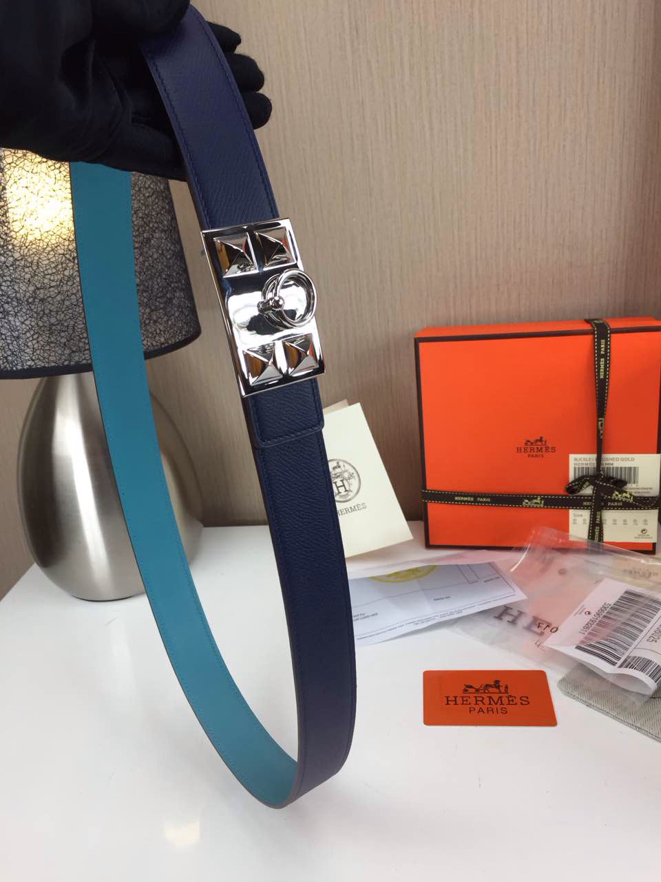 Hermes Women's Trunk buckle Palm prints with blue and Plain with sky blue 2.5CM