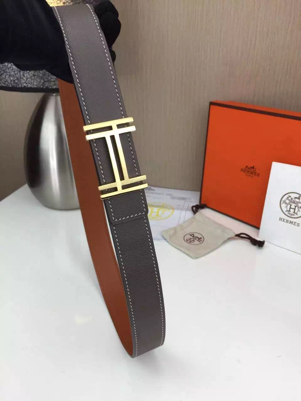 Hermes belt Wholesale Stainless steel gold buckle with gray palm print Many colors available