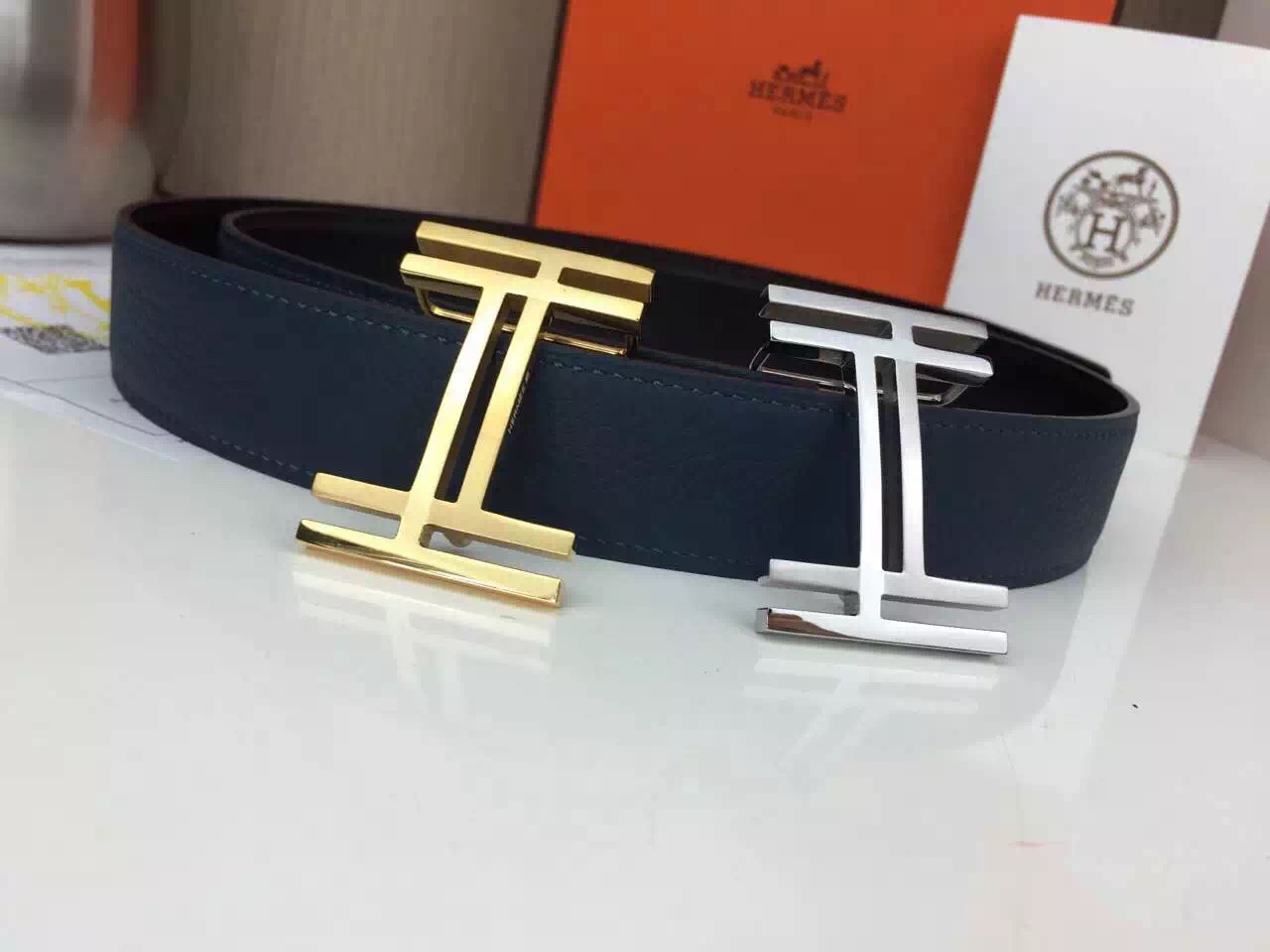 Hermes belt Wholesale Stainless steel silvery buckle with gray palm print Many colors available