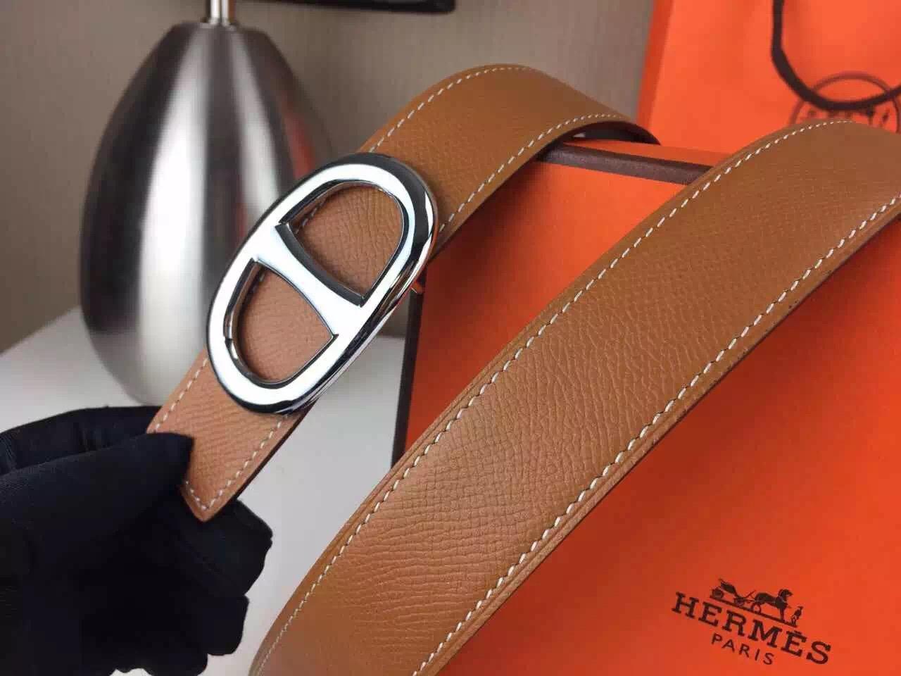 Hermes belt source Novel design Brown palm print