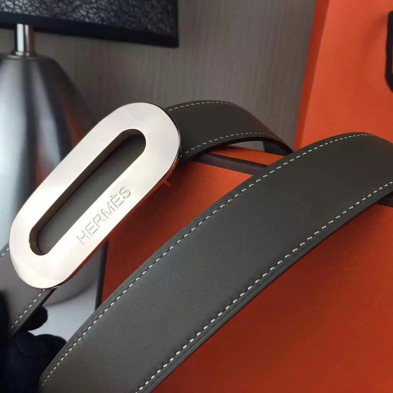 Hermes belt source Fashion Grey plain