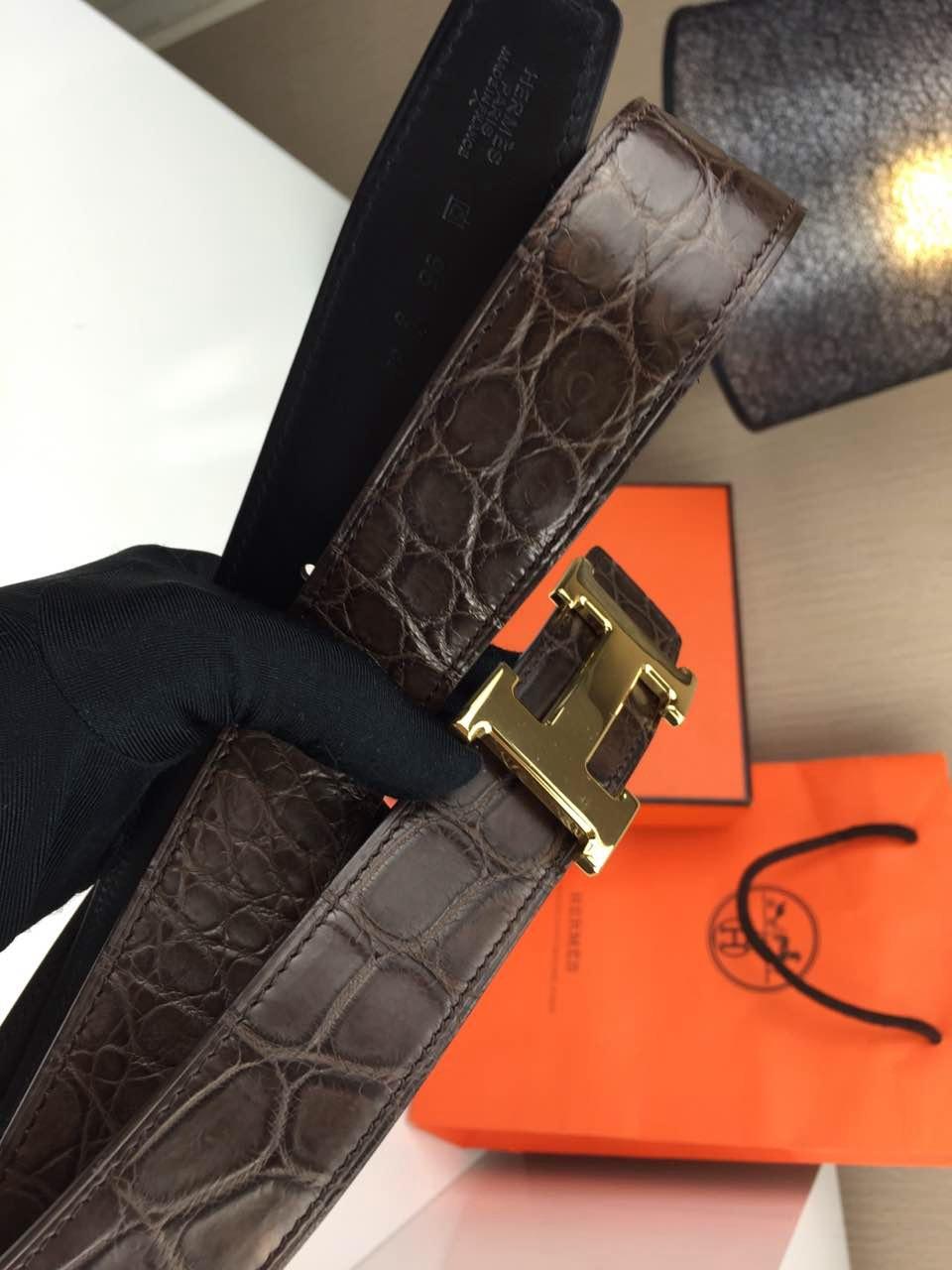 Hermes belt Animal skin Coffee