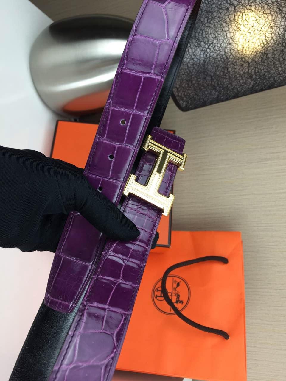 Hermes belt Animal skin Violet