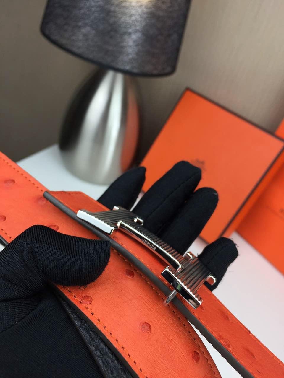 Hermes belt Animal skin Orange