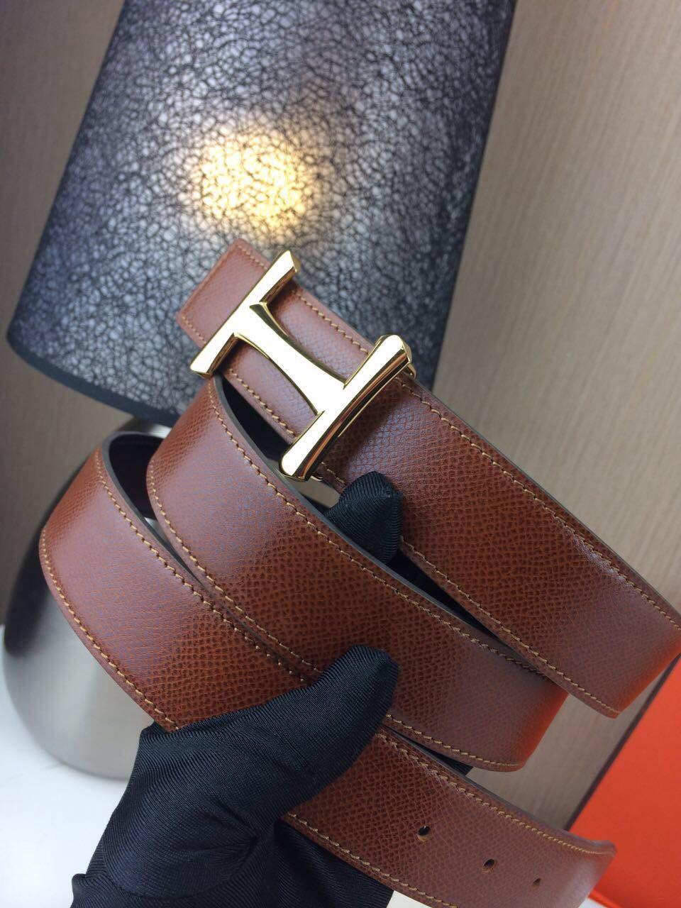 Hermes belt Togo leather Chicken leg buckle Dark brown