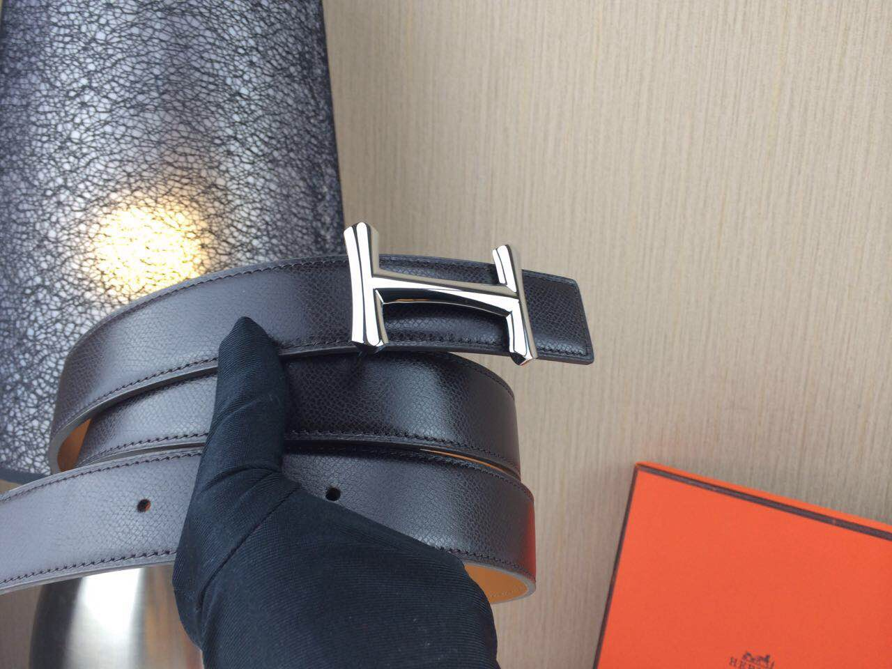 Hermes belt Togo leather Chicken leg buckle Black