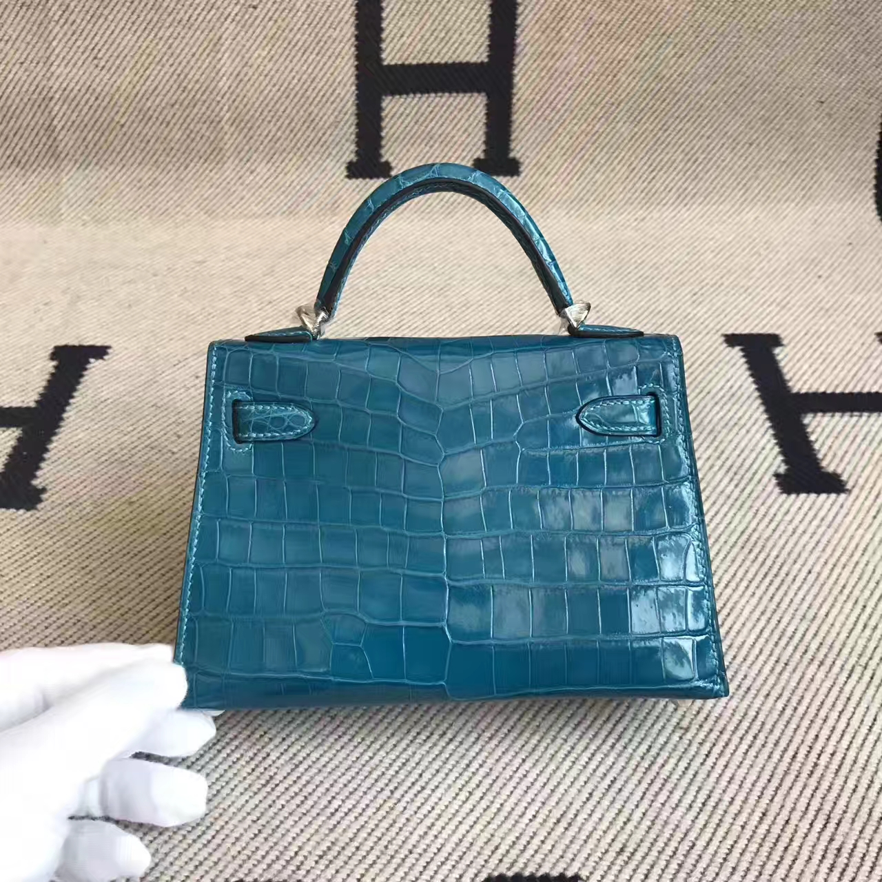 New Arrival Hermes Minikelly-2 Clutch Bag in 7W Blue Izmir Crocodile Leather