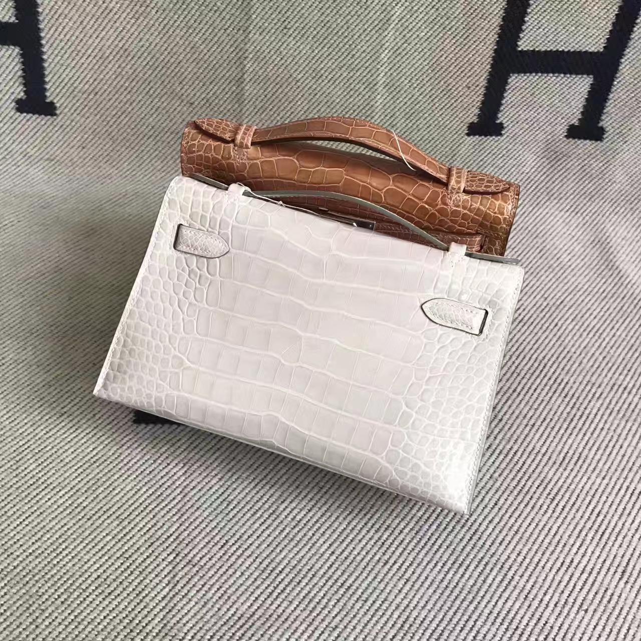 Discount Hermes 8L Beton Matt AlligatorCrocodile Minikelly Clutch Bag22CM
