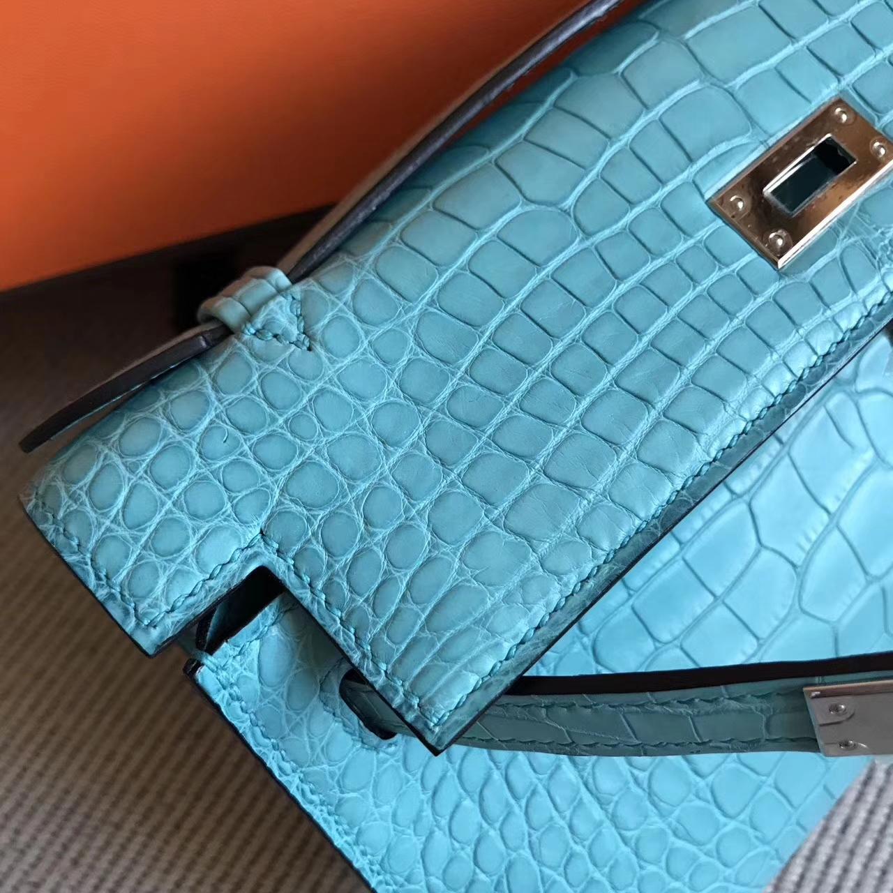 Fashion Hermes Minikelly Pochette 22CM in 3ZBlue Saint-cyr Matt Alligator Leather