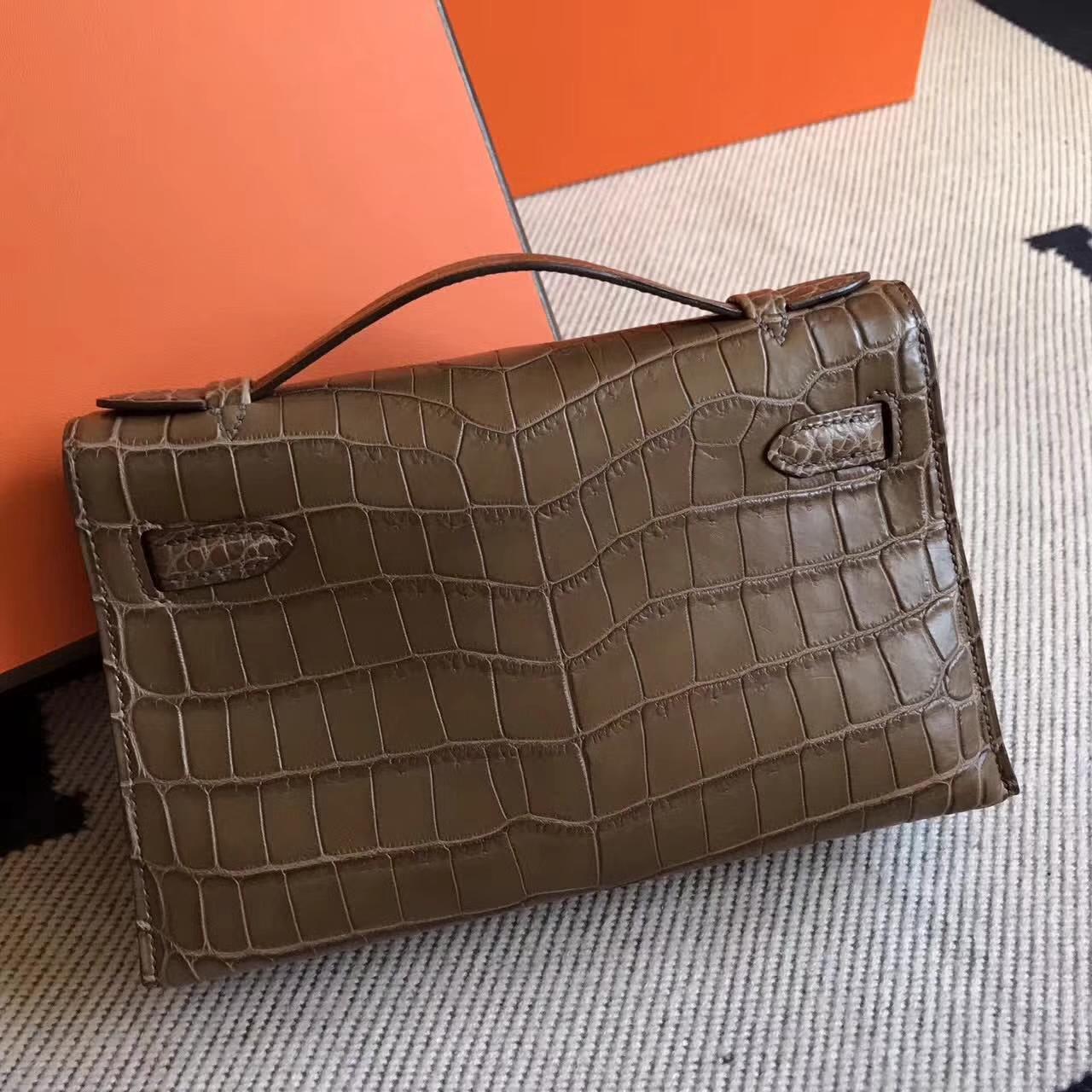 New Arrival Hermes Dark Coffee Matt Crocodile Leather Minikelly22cm Bag