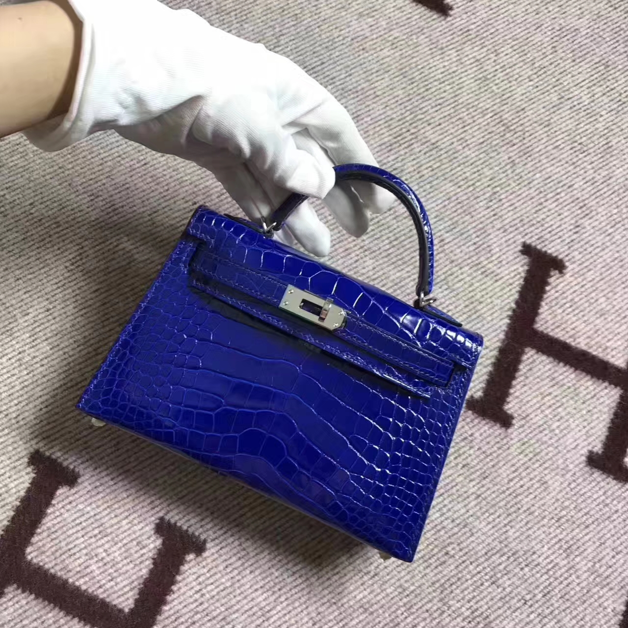 Hot Sale Hermes 7T Blue Electric Crocodile Shiny Leather Minikelly-2 Clutch Bag