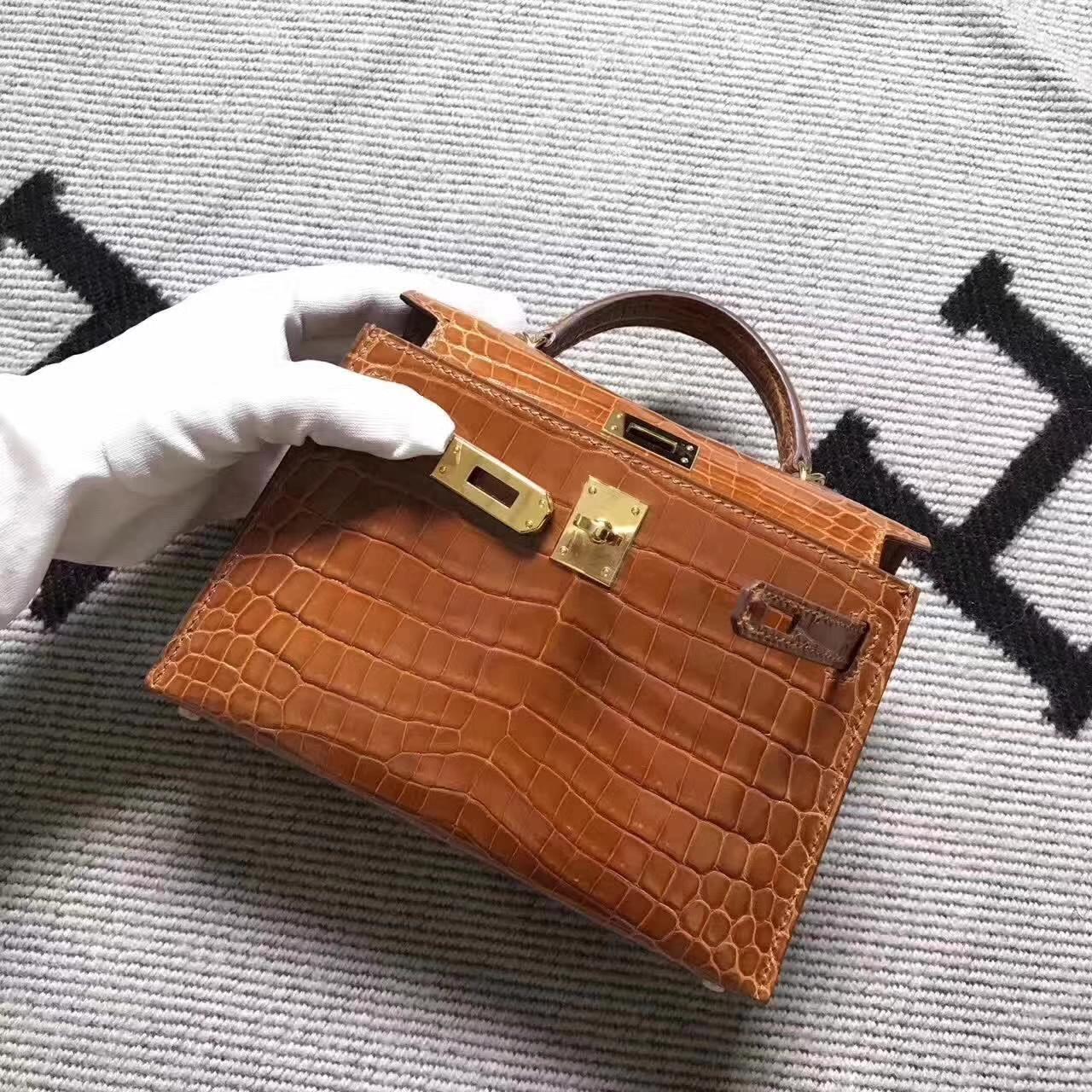 Fashion Hermes Amber Crocodile Shiny Leather Minikelly-2 Clutch Handbag