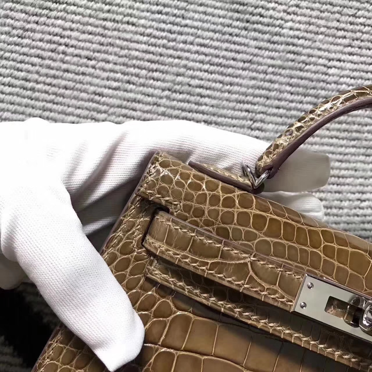 New Arrival Hermes Minikelly-2 Clutch Bag in Brown Crocodile Leather