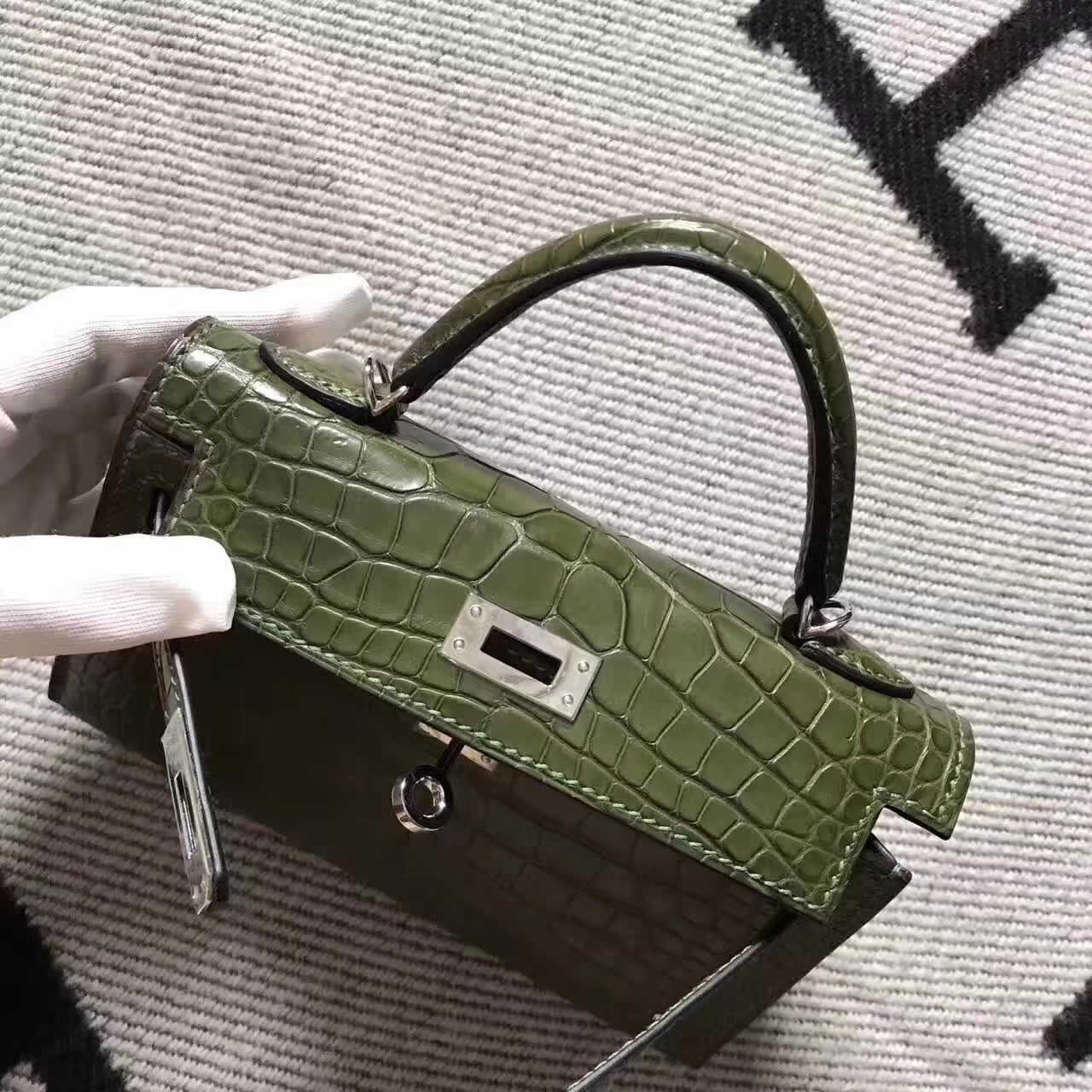 Hand Stitching Hermes Olive Green Crocodile Shiny Leather Minikelly-2 Clutch Bag