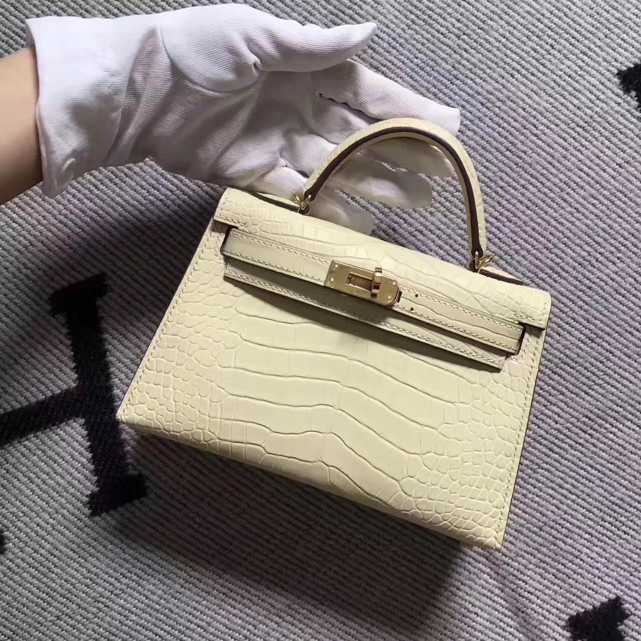 Noble Hermes Crocodile Matt Leather Minikelly-2 in Milk Tea Color Gold Hardware