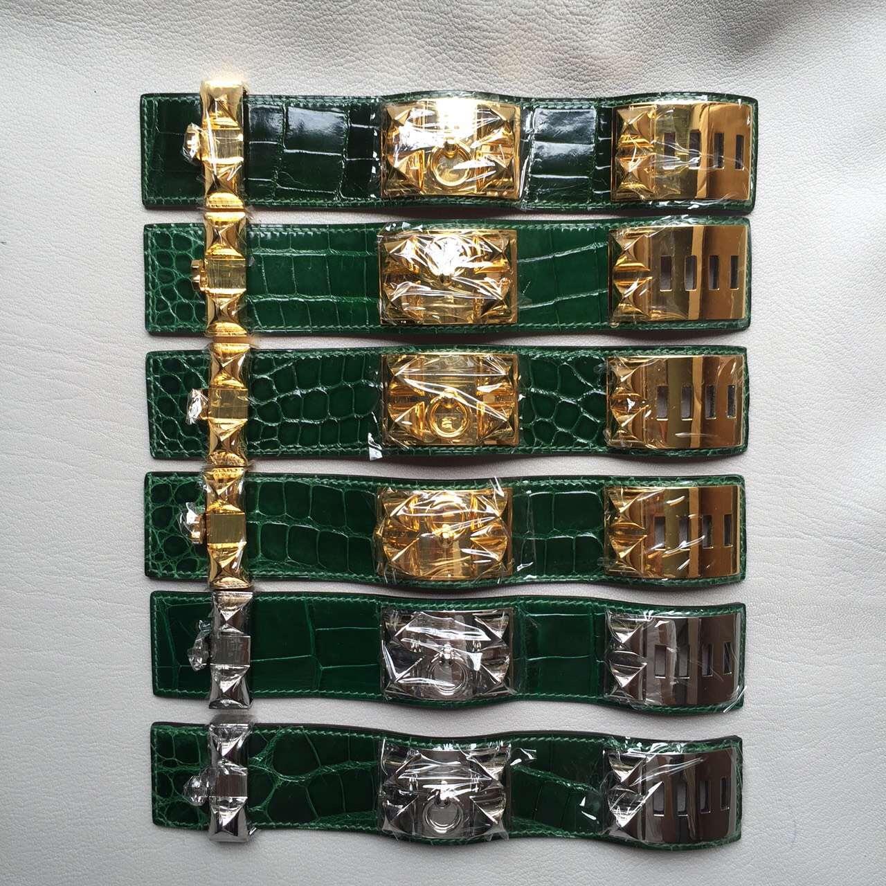 New Fashion Hermes Multi-color Crocodile Leather CDC Women's Bracelet