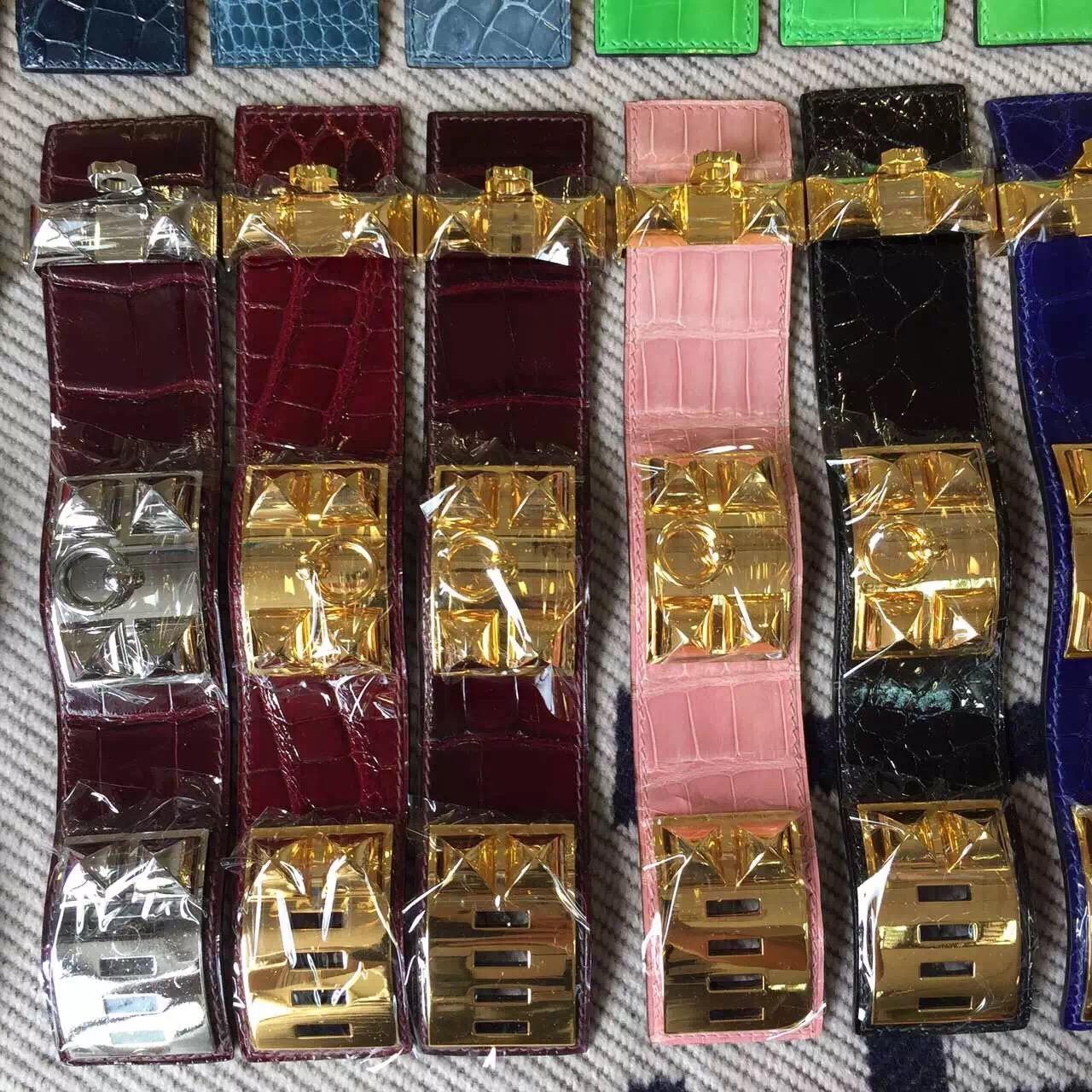 Hand Stitching Hermes Multi Color Crocodile Leather CDC Bracelet