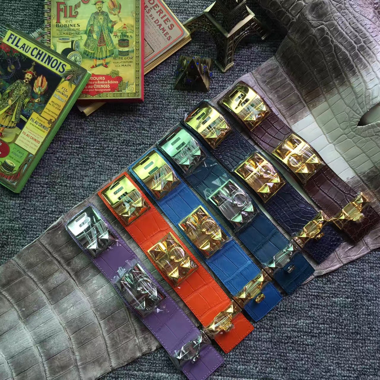 Wholesale Hermes Multi Color Crocodile Leather Hermes Bracelet