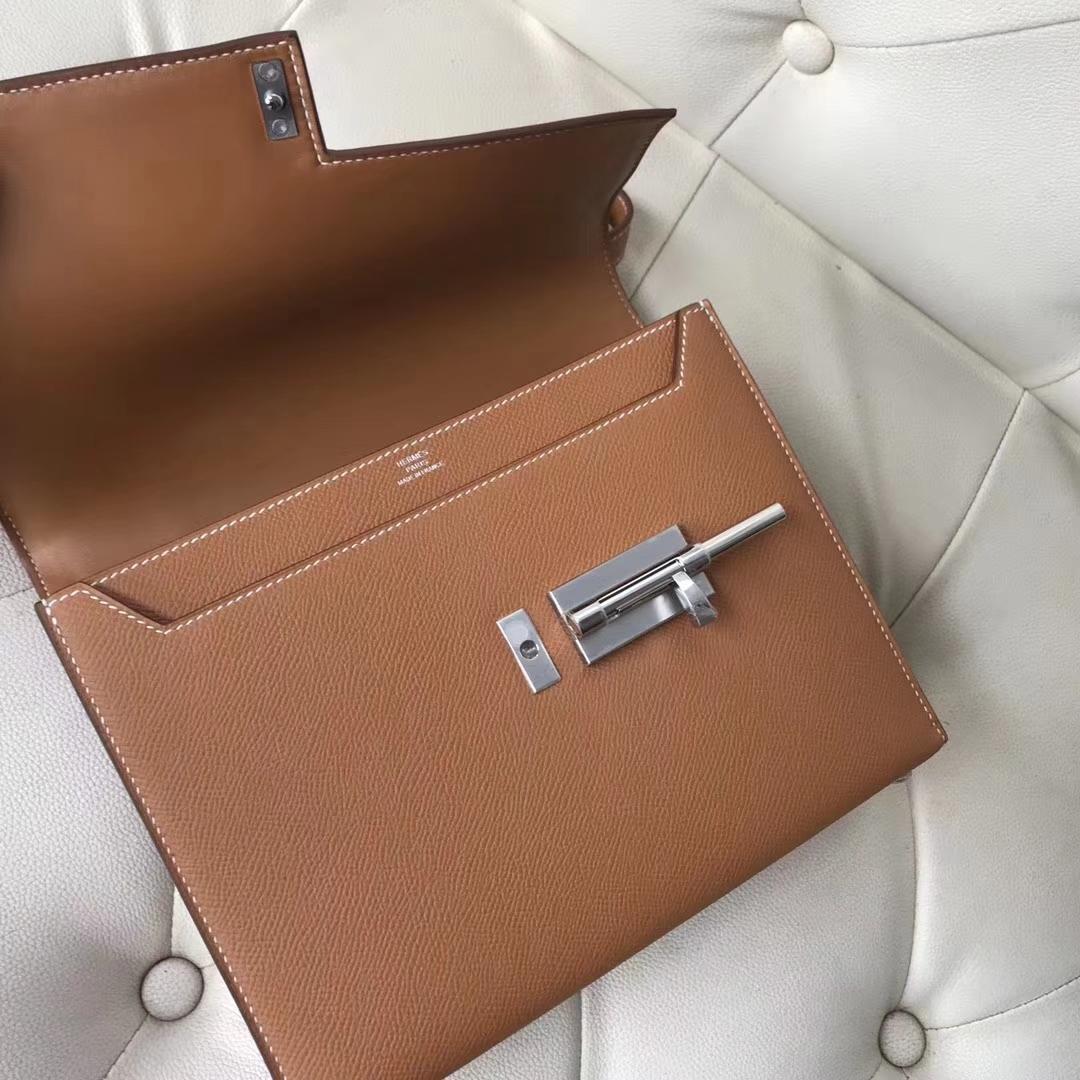 Discount Hermes Epsom Calf VerrouBag23CM in CK31 Gold Silver Hardware