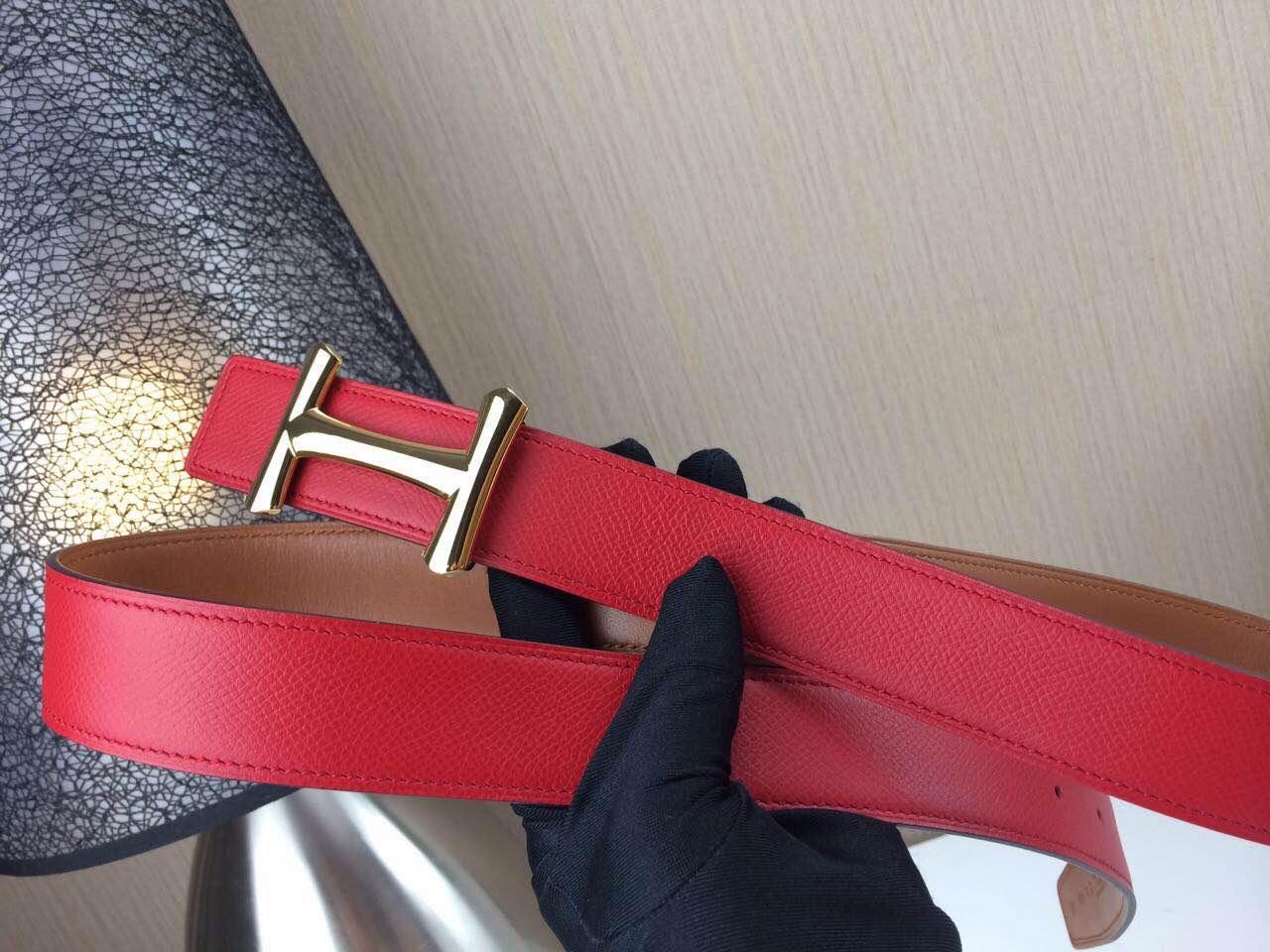 Hermes belt Togo leather Chicken leg buckle Red