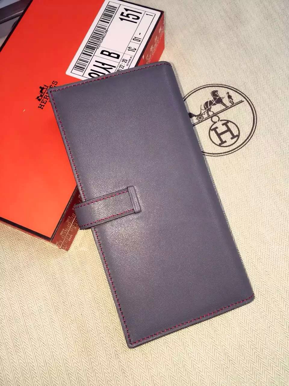19CM Hermes Swift Leather CK18 Etoupe Grey Bean Wallet Clutch Handbag
