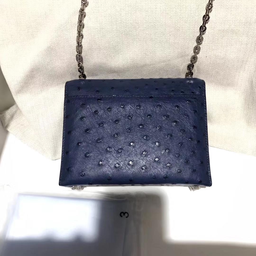 Elegant Hermes Ostrich Leather Verrou17CMShoulder Bag Silver Hardware