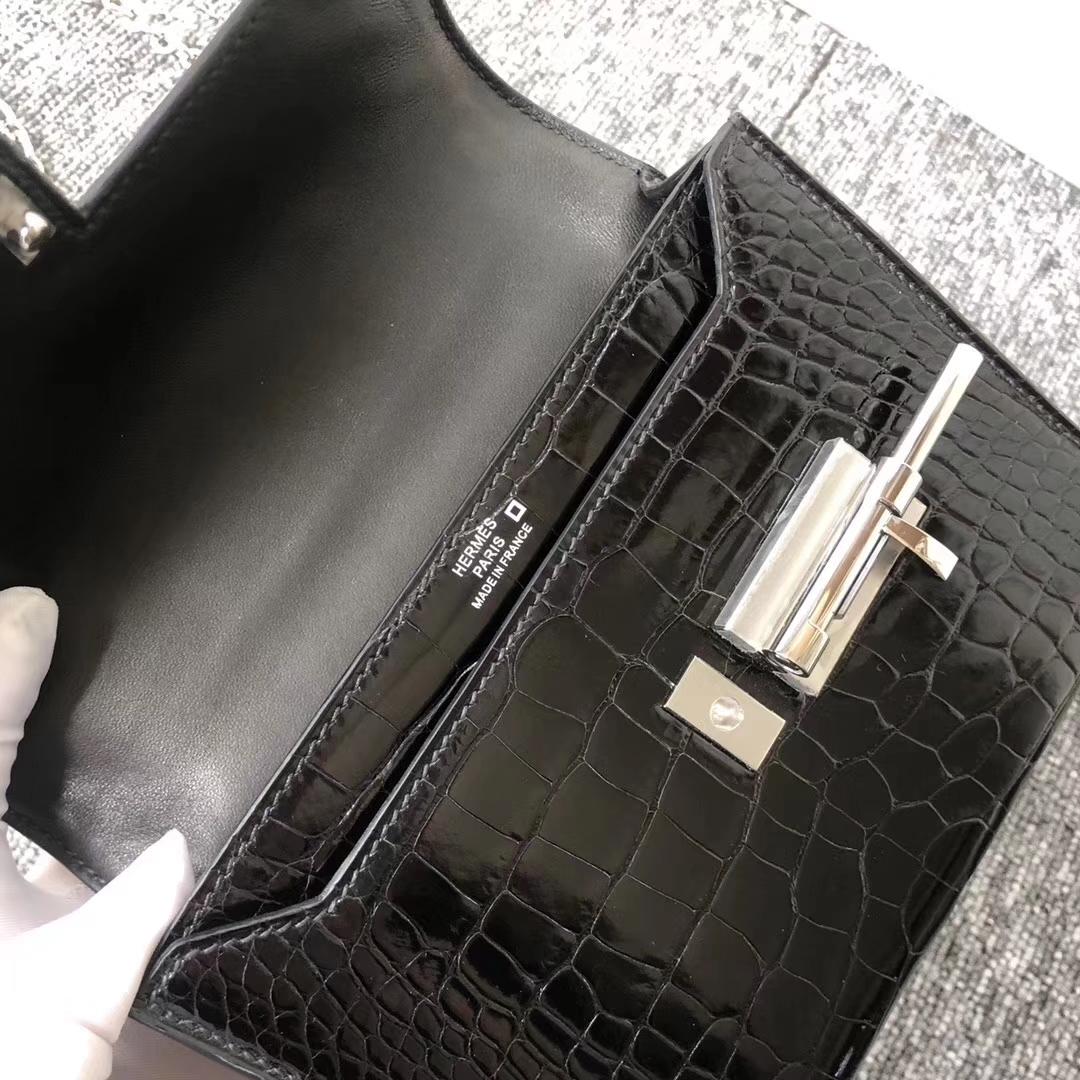Customize Hermes CK89 Noir Shiny Crocodile VerrouBag17.5cm Silver Hardware