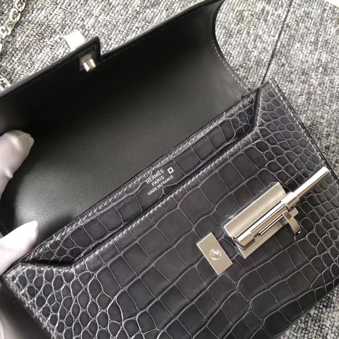 Fashion Hermes Shiny Crocodile VerrouShoulder Bag in CK88 Gris Graphite Silver Hardware
