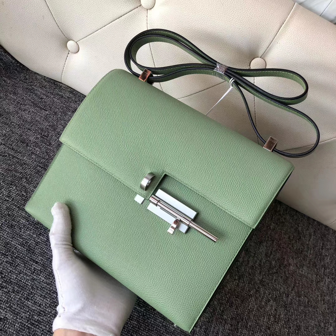 New Hermes 3I Vert Criquet Epsom Calf VerrouBag21cm Silver Hardware