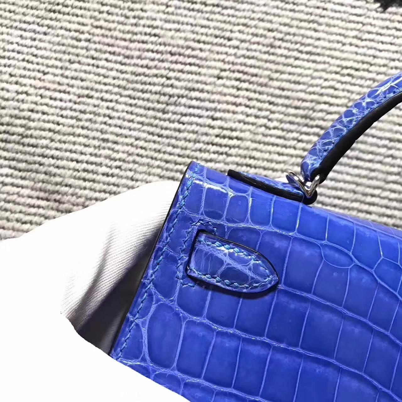 Cheap Hermes Blue Izmir  Crocodile ShinyLeather Minikelly-2 Clutch Bag