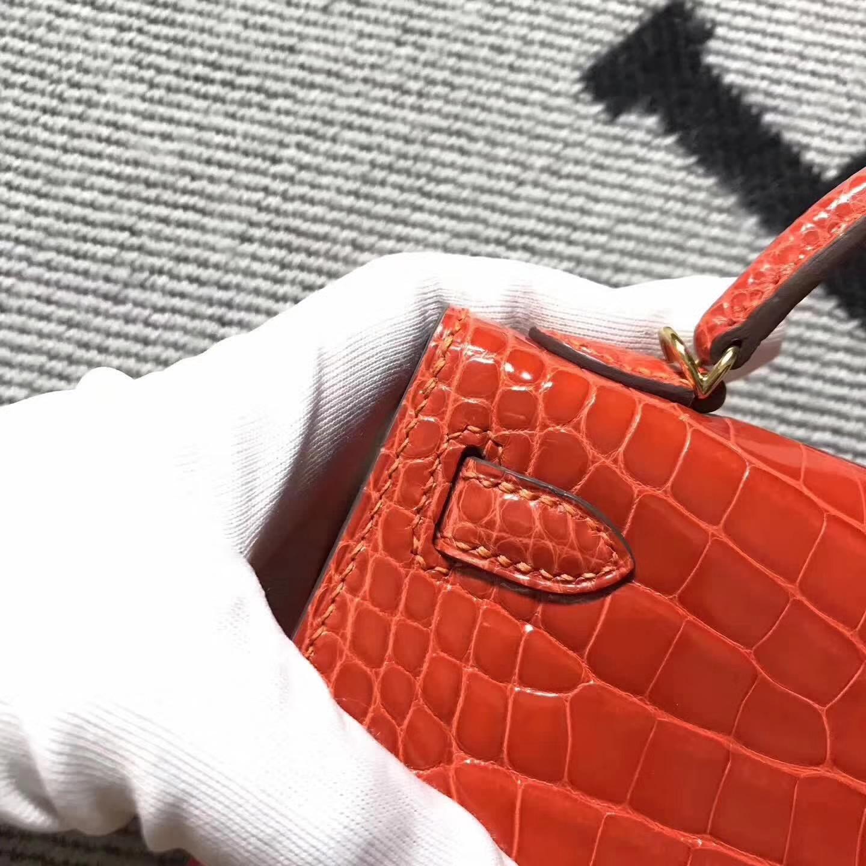 Wholesale Hermes Minikelly-2 Orange Crocodile ShinyLeather Clutch Handbag