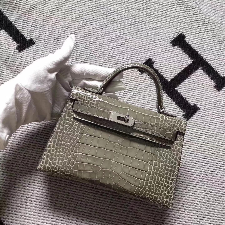 Discount Hermes Etoupe Grey Crocodile Shiny Minikelly-2 Clutch Bag