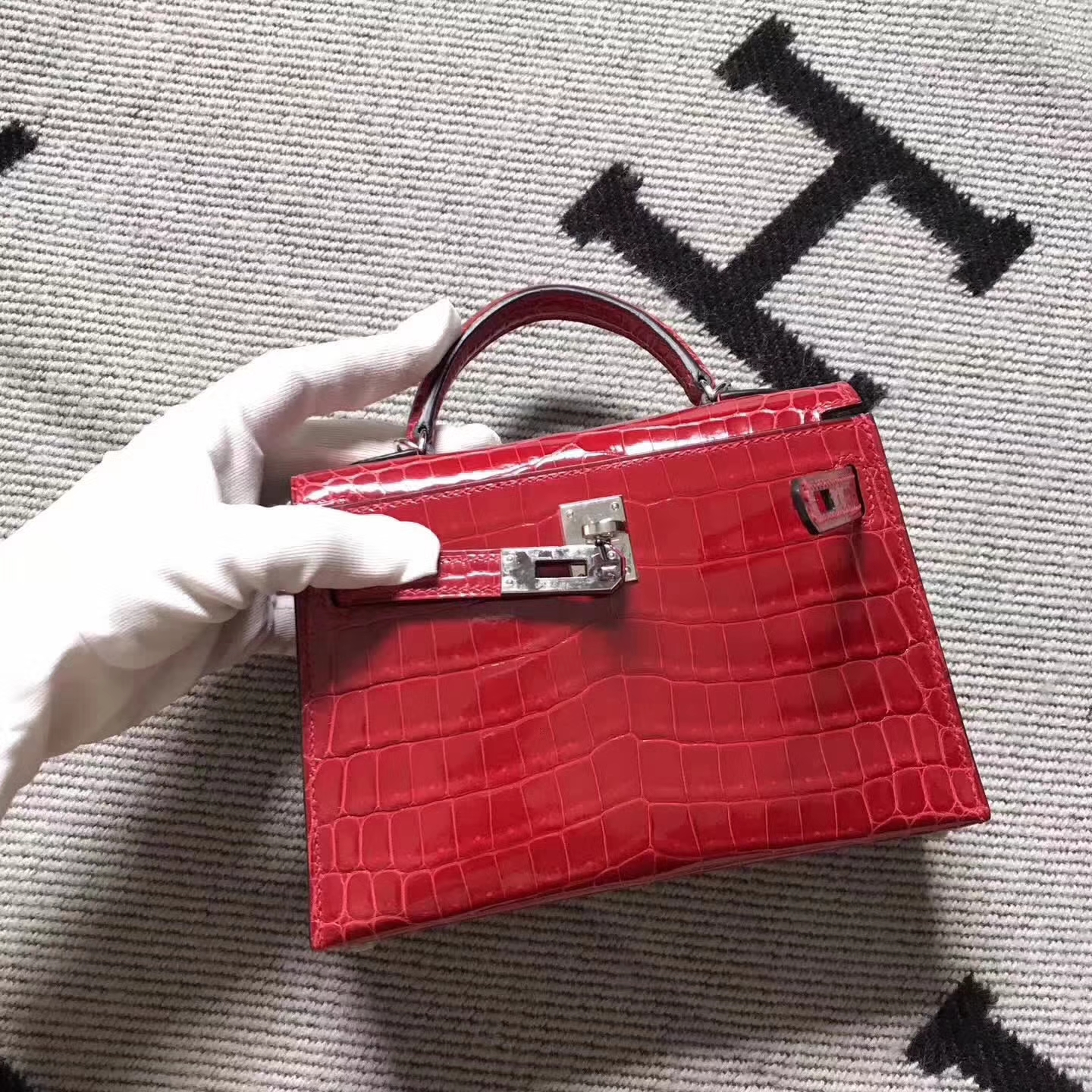 Discount Hermes Red Crocodile ShinyLeather Minikelly-2 Evening Bag Clutch Bag