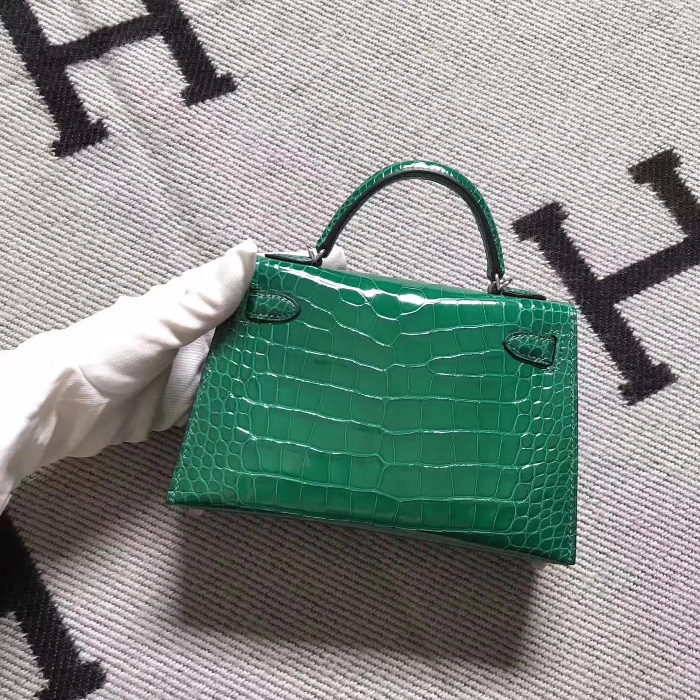 Fashion Hermes Vert Tipien Crocodile Shiny Leather Minikelly-2 Clutch Bag