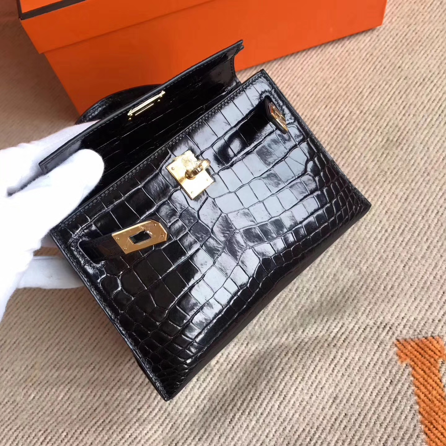 Sale Hermes Crocodile ShinyLeather Minikelly-2 Clutch Bag in  CK89 Black