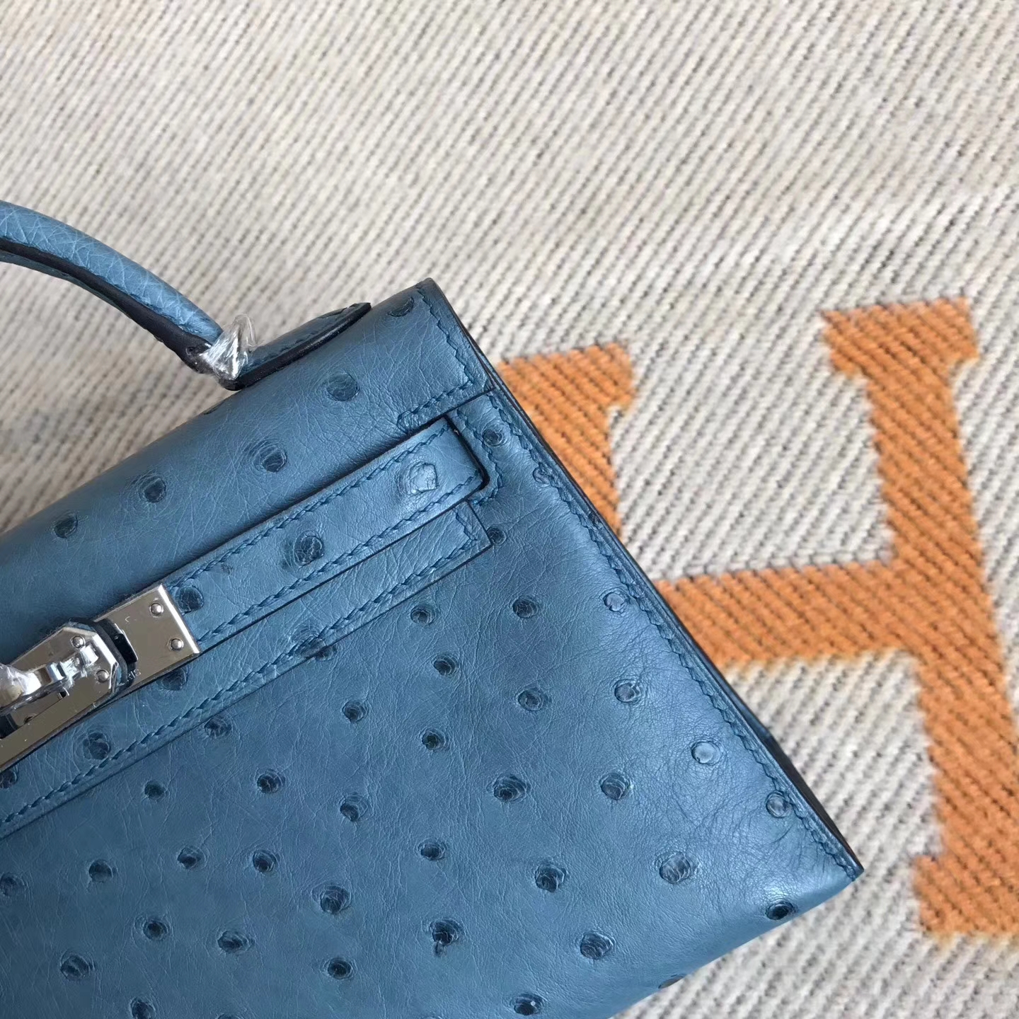 Sale Hermes Coral Blue Ostrich Leather Minikelly-2 Evening Bag19cm Silver Hardware