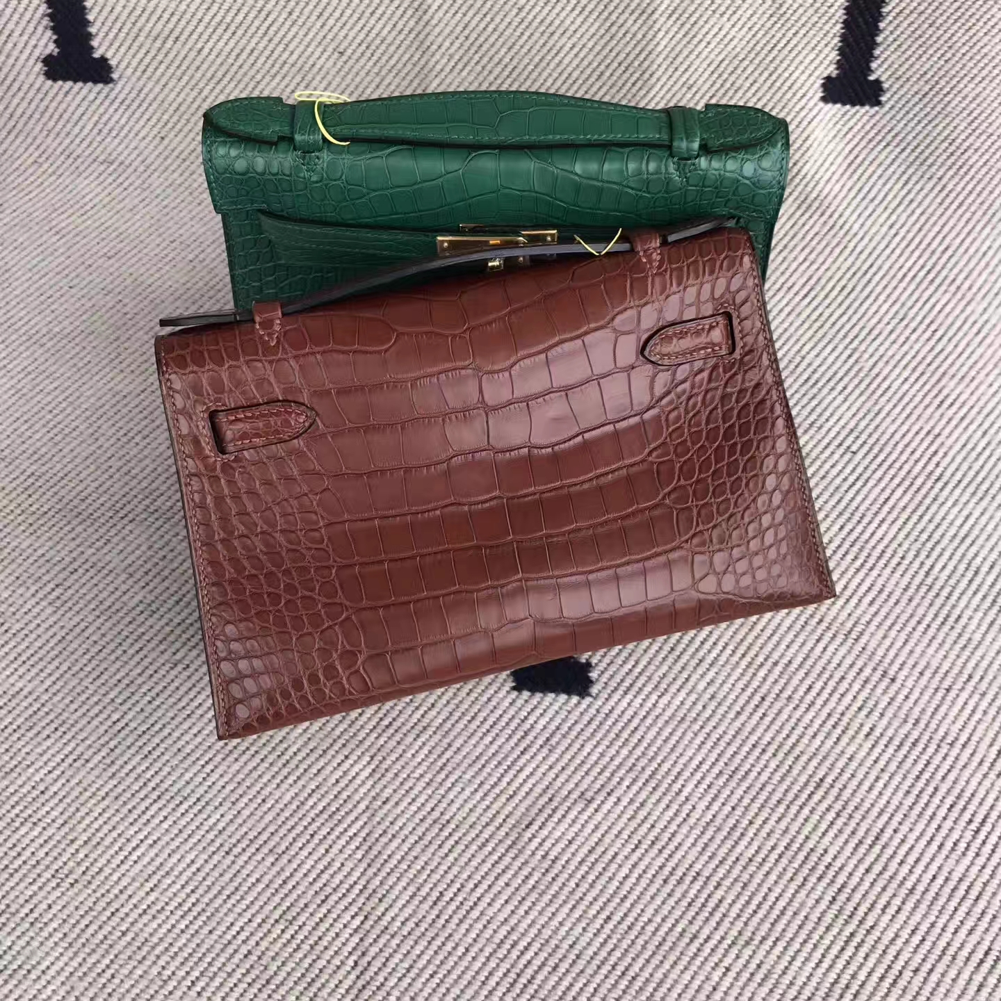 Elegant Hermes Coffee Matt Alligator Crocodile Minikelly Bag22cm