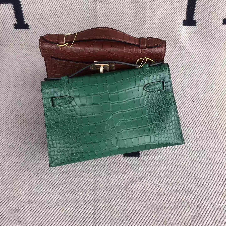 Discount Hermes Vert Tipien Matt Alligator Crocodile Minikelly Clutch Bag22cm