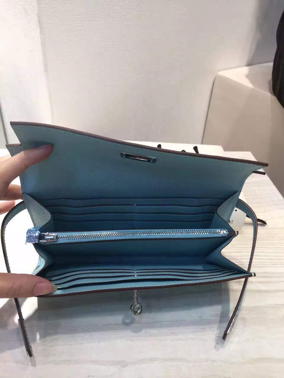 Hot Sale Hermes Lagon Blue Epsom Leather Kelly Wallet Clutch Bag