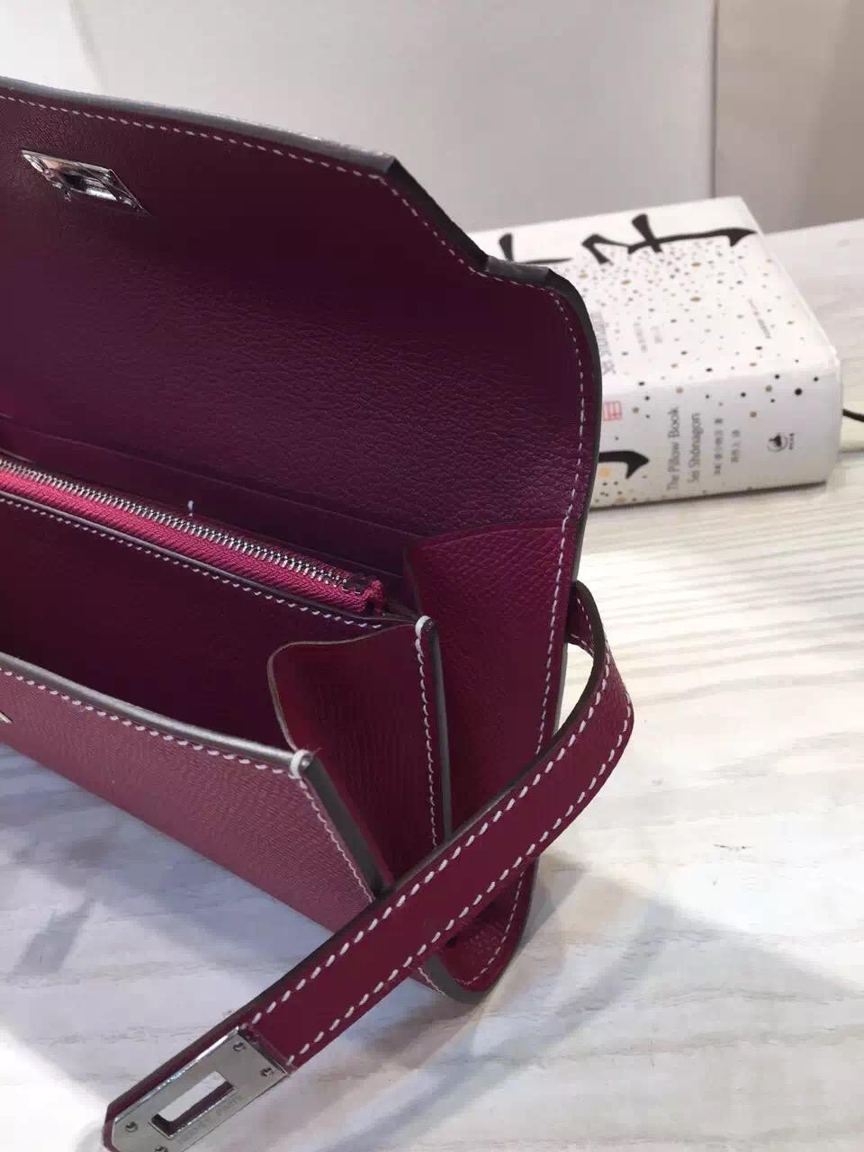 Online Store Hermes Bordeaux Epsom Leather Kelly Long Wallet