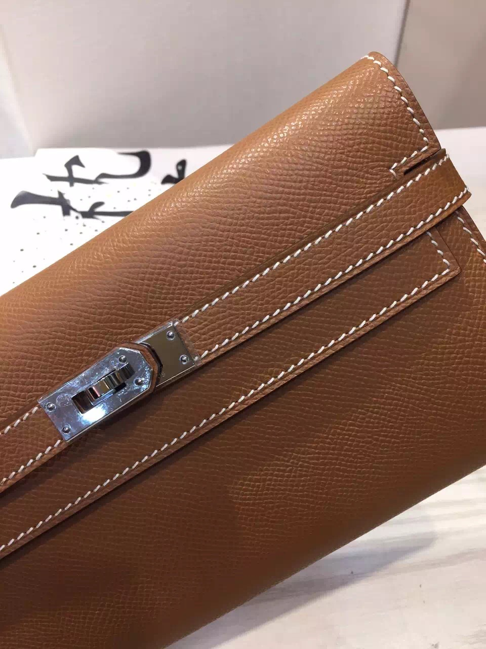 Hand Stitching Hermes Epsom Leather Kelly Wallet in Camel