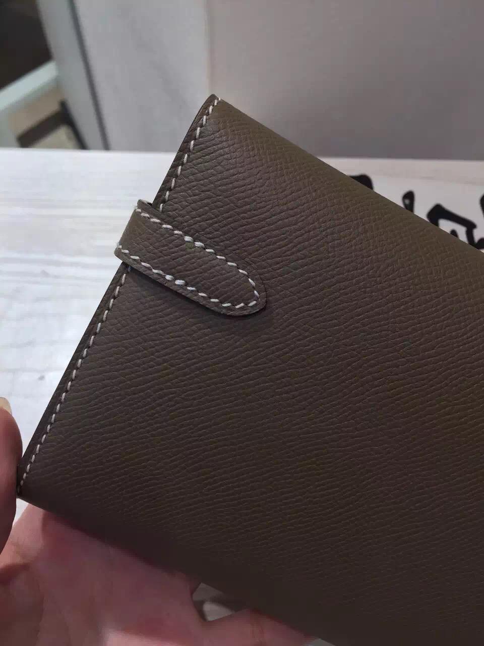 Sale Hermes Kelly Wallet Etoupe Grey Epsom Leather Clutch Bag