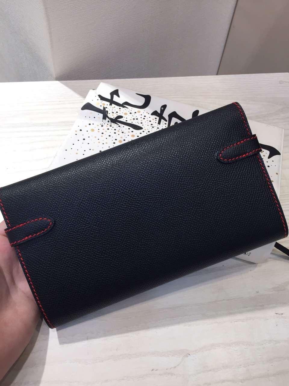 New Fashion Hermes Black Epsom Leather Kelly Long Wallet Purse