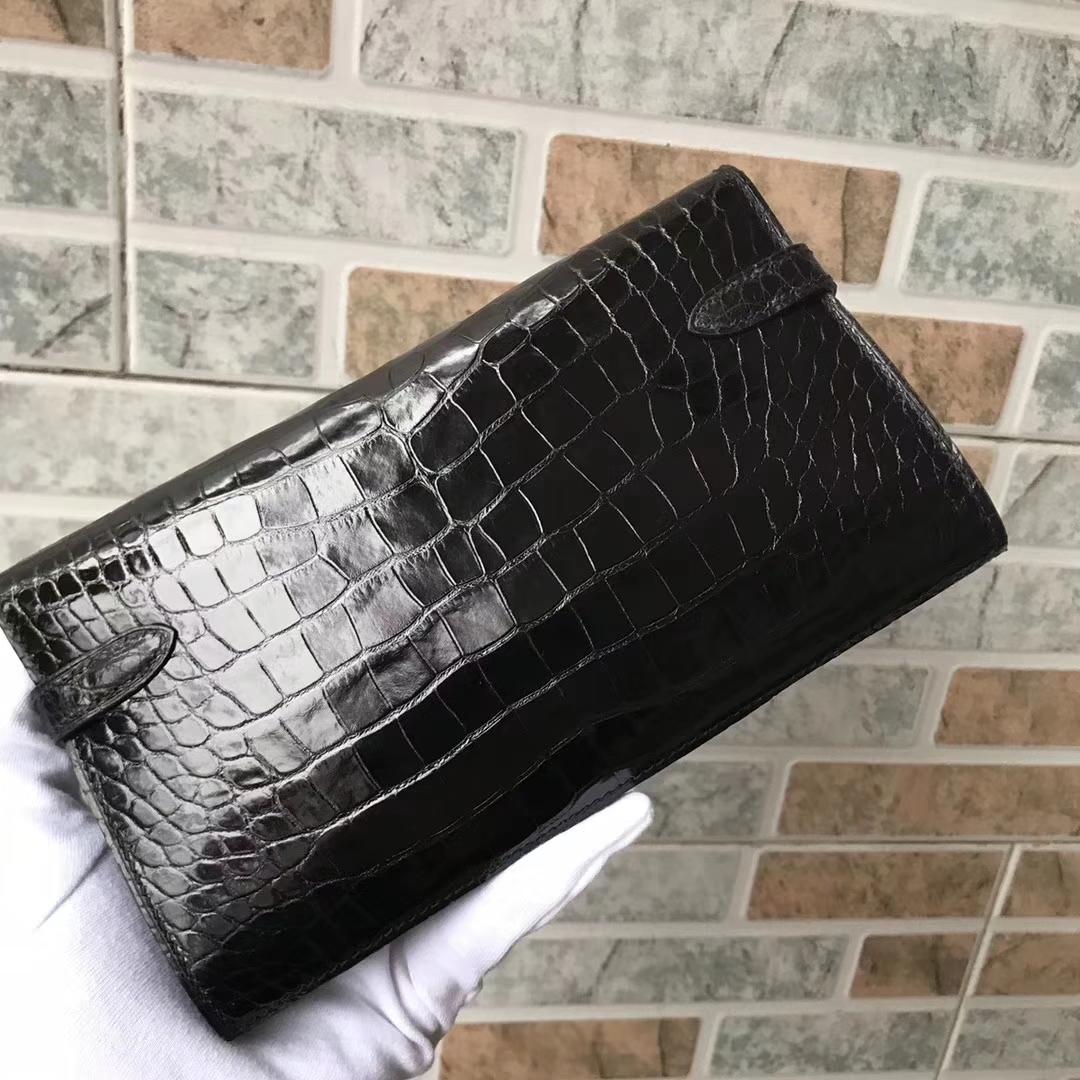 Luxury Hermes CK89 Black Alligator Shiny Crocodile Kelly Wallet Clutch Bag