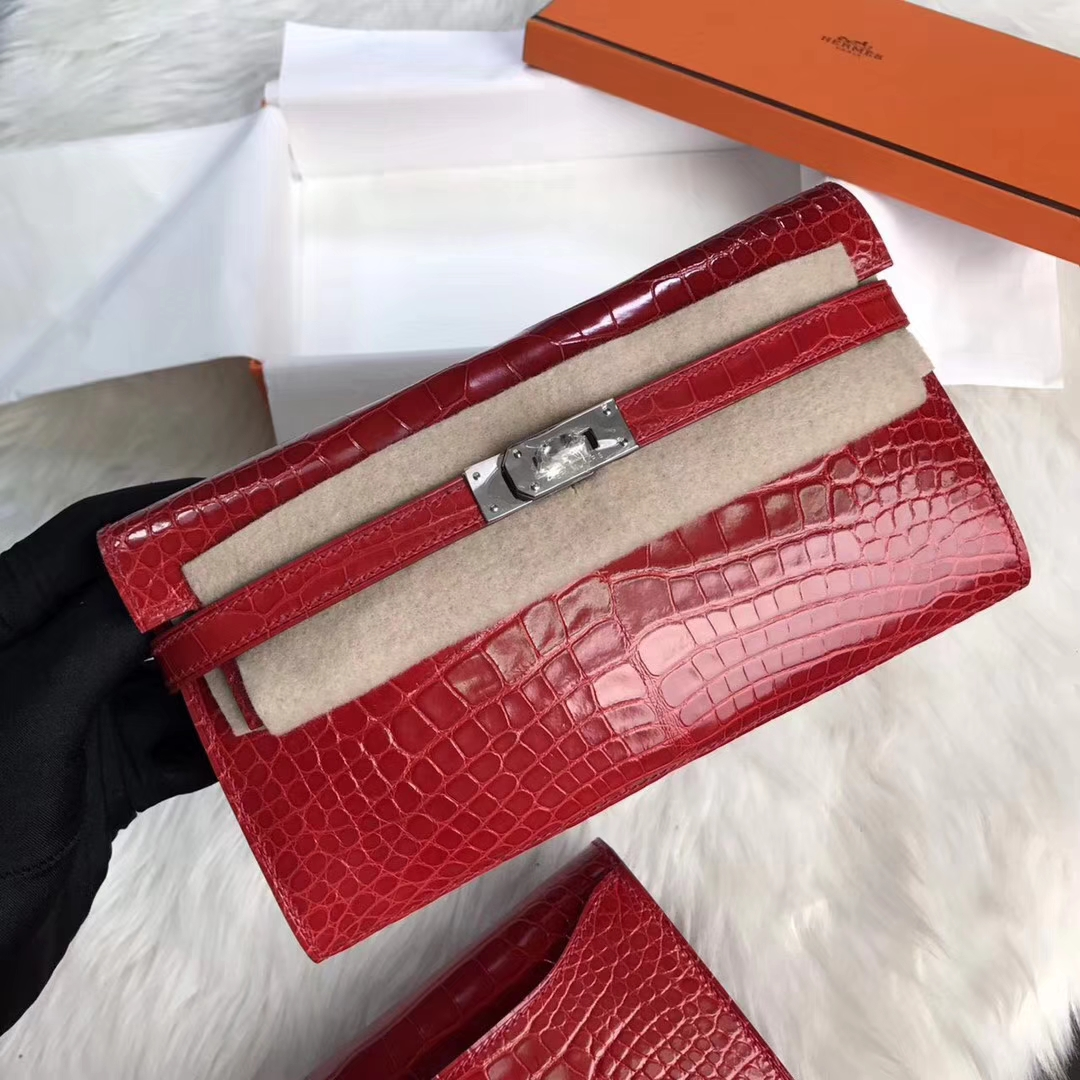New Pretty Hermes Kelly Wallet Red Shiny Crocodile Leather Clutch Bag