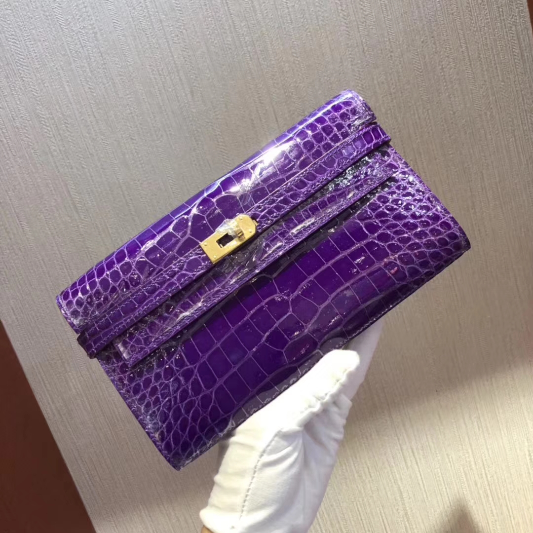 Luxury Hermes 5L Ultraviolet Alligator Shiny Crocodile Kelly Wallet Clutch Bag Gold Hardware