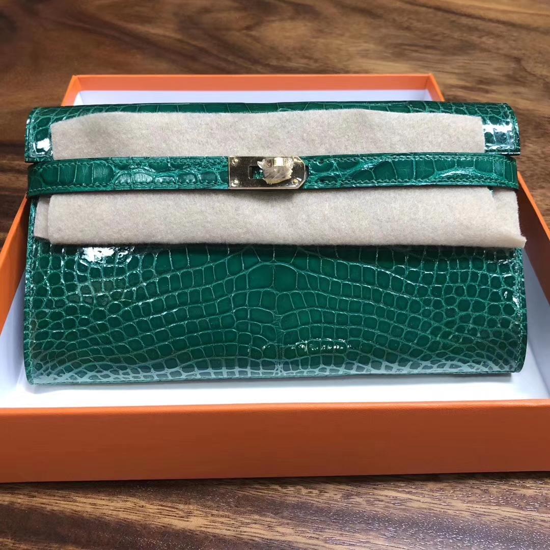 Fashion Hermes Shiny Crocodile Kelly Wallet Cluthc Bag 6Q Vert Emerald Gold Hardware