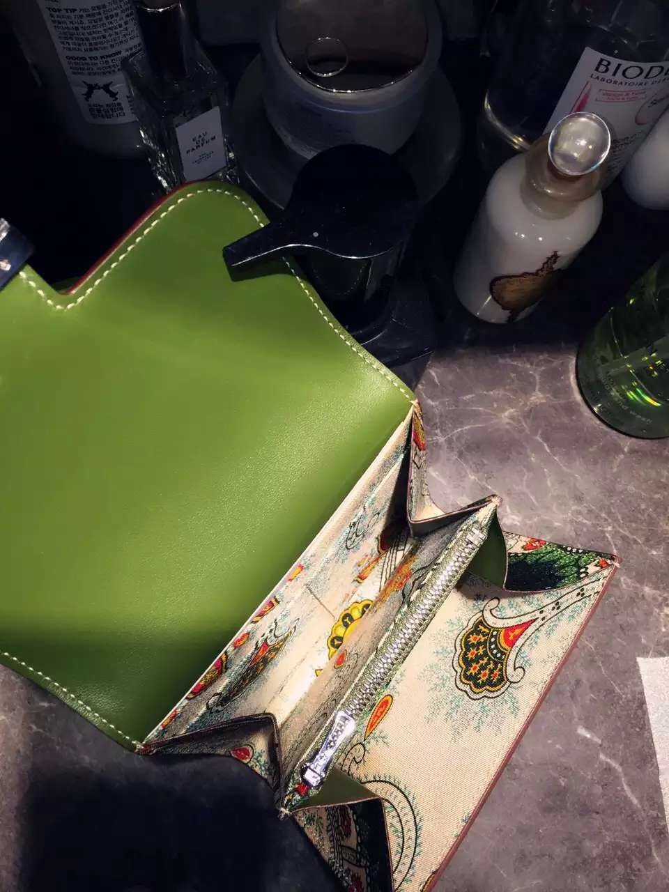 Cheap Hermes V6 Olive Green Swift Leather Silk'in Constance Wallet Purse