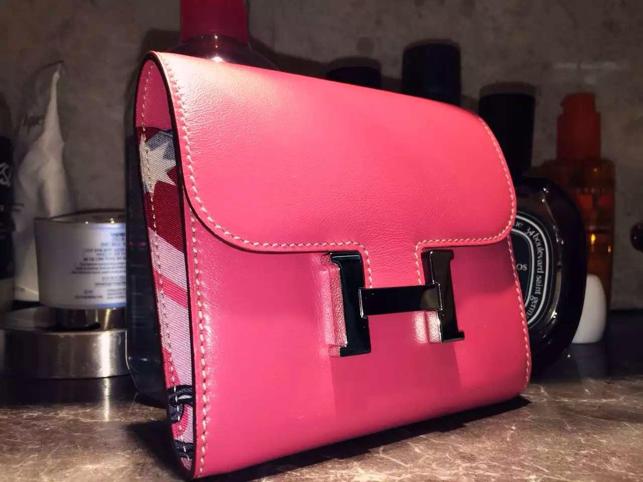 14cm Hermes Silk'in Short Constance Wallet Swift Leather Fuchsia Pink Purse